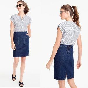 J CREW Tie-back Denim Skirt